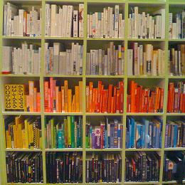 Color-coded bookcase by juhansonin